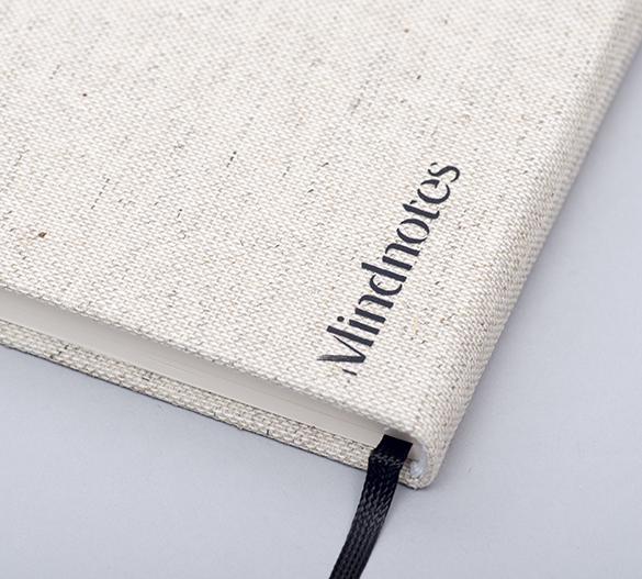 MN33 Mindnotes av hårdomslag av textil Lino color, Lino nature